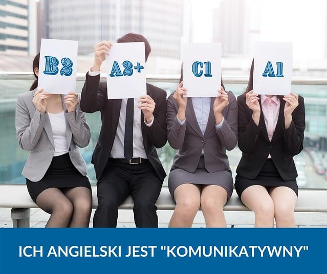 Osoby w garniturach siedzące na ławce, trzymają w rękach kartki na których widnieje ich poziom znajomości angielskiego w skali CEFR, pod spodem napis ich angielski jest komunikatywny