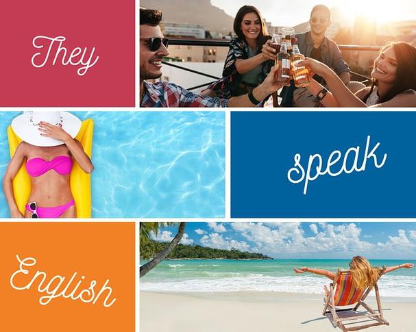 Osoby spędzające czas podczas wakacji, znajomi pijący razem alkohol, kobieta pływająca w basenie, kobieta siedząca na plaży — wszyscy wiedzą, że warto uczyć się języka angielskiego